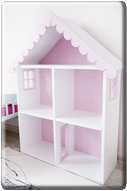 CABINET IN THE SHAPE OF A HOUSE/PINK